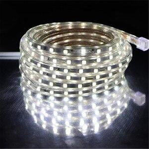 Image 2 - Светодиодная лента, гибкая водонепроницаемая лента SMD 5050, 60 светодиодов на метр, 220 В перем. тока, 1/2/3/5/6/8/9/10/15/20 м