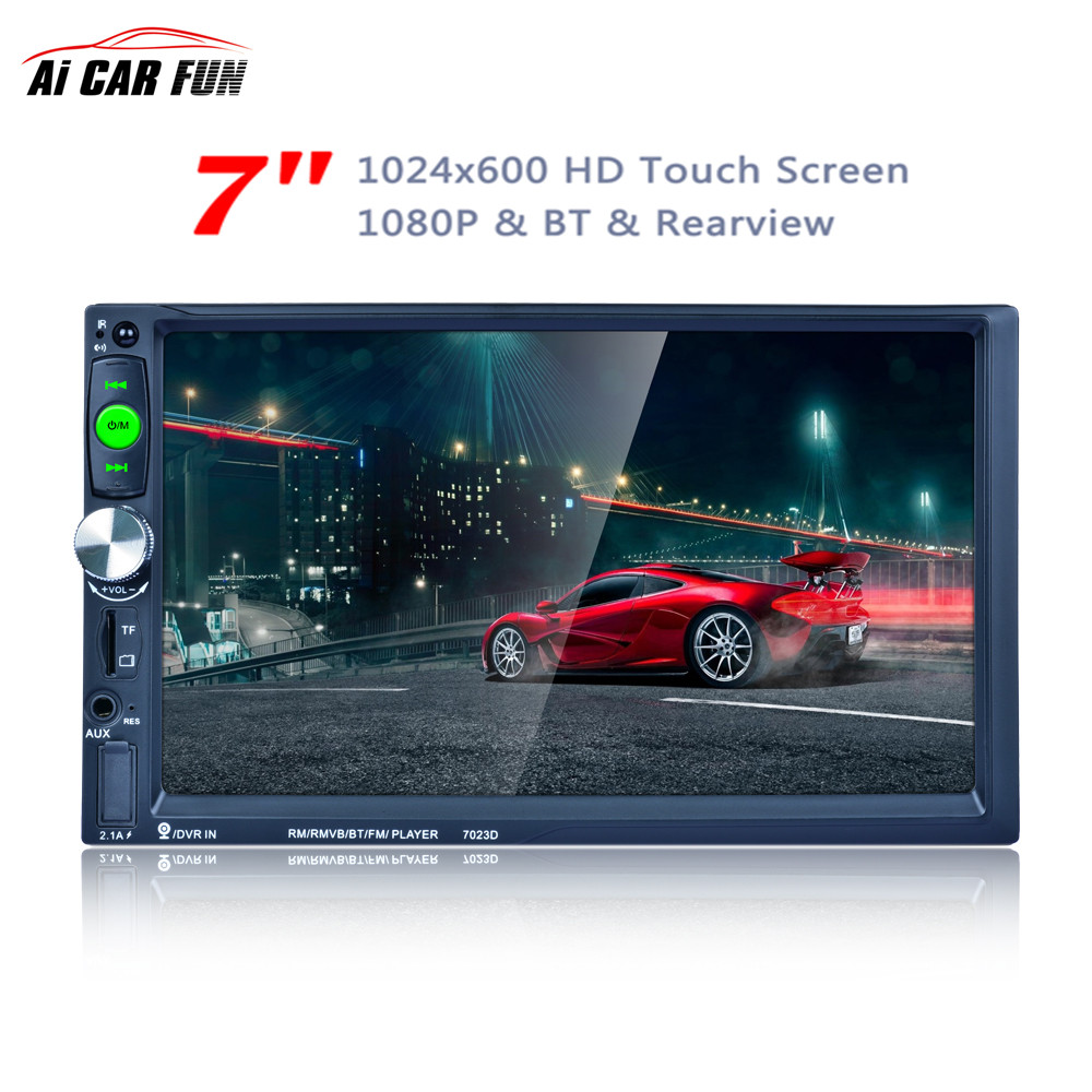 7023D 2Din 7 polegadas Bluetooth HD 1024*600 Carro MP5 Player com Cartão Sintonizador de Rádio leitor de Carga Rápida com Câmera Estéreo Do Carro MP5 Player