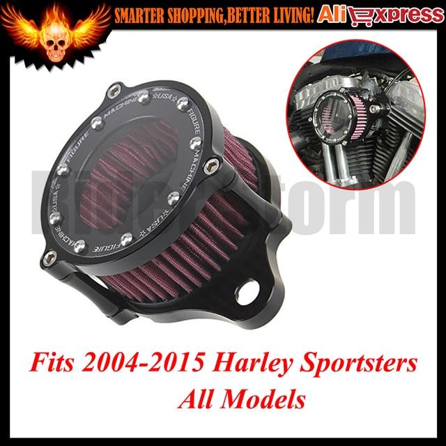Para Harley Sportster XL883 1200 2004-2015 Custom Nueva Claro Motocicleta Filtro de Aire + Filtro de Entrada Syetem Áspera Artesanía