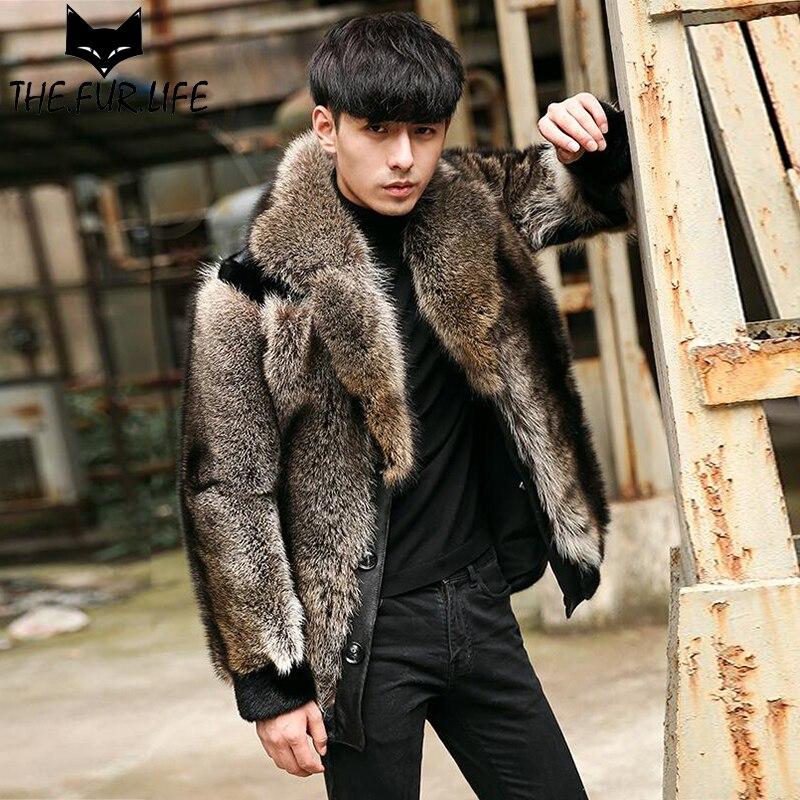 Creative Real Raccoon Dog Fur Coats With Mink Furs Sleeves Men Jackets Nature Fur Overcoats Warm Lapel Collar Outerwear Jacket