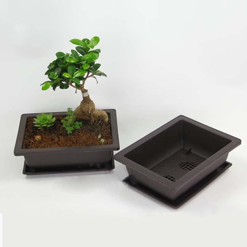 Antique Flower Pot Balcony Square Plastic Pots Imitation Rectangle Plant Pot Flower Bonsai Bowl Nursery Basin Planter Macetas