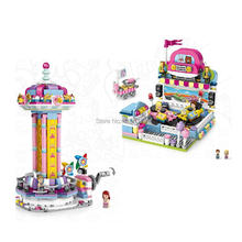 hot LegoINGlys city creators Street view jumping machine Bumper car amusement park micro diamond building blocks model toys gift