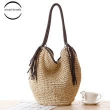 Summer Fashion Female 2019 Casual Tassel Big Straw Beach Bags Women Handbags Womens Shoulder Bag Zipper Bolsas