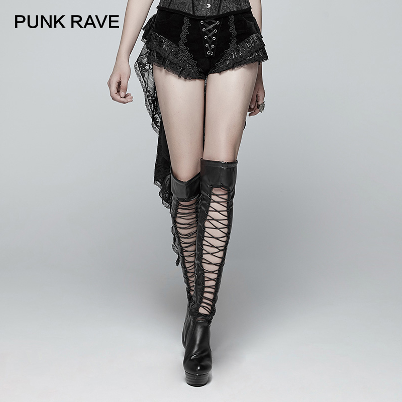 PUNK RAVE New Gothic Swallow Tail Dressshorts Fashion Retro Lacing Victorian Sexy Palace Women Shorts Skirt Novelty Visual Kei