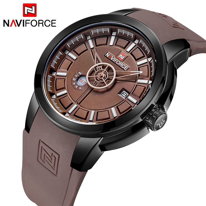 NAVIFORCE New Brand Luxury Men Sport Watches Rubber Strap Waterproof Quartz Watch Analog 3D Face Army