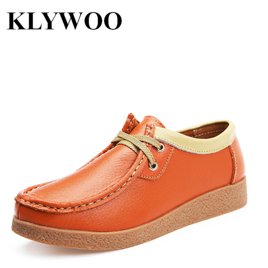KLYWOO Autumn Fashion Women Casual Shoes Genuine Leather Flats Shoes Women Oxfords for Women Moccasins Ladies