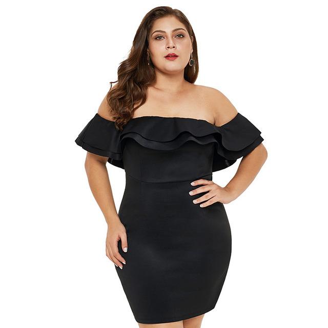 Off shoulder plus size little black dress