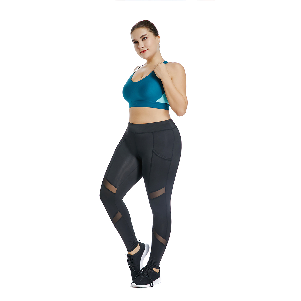 Joyshaper Plus Size Women Ankle Length High Elasticity Workout Leggings With Pockets Breathable Mesh Gym Sport Pants Black