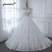 Robe De Mariage 2019 Luxury Wedding Dresses Crystals Beads Royal Train Wedding Gowns Ball Gown Plus Size Bride Dress 1/2 Sleeves