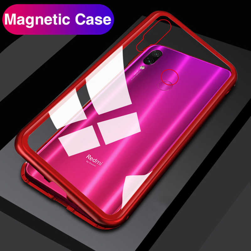 Magnetic Flip Adsorption Phone Case for Xiaomi Redmi Note 7 6 Pro Tempered Glass Back Cover Xiomi Xaomi Mi 9 9T Mi9 Pocophone F1