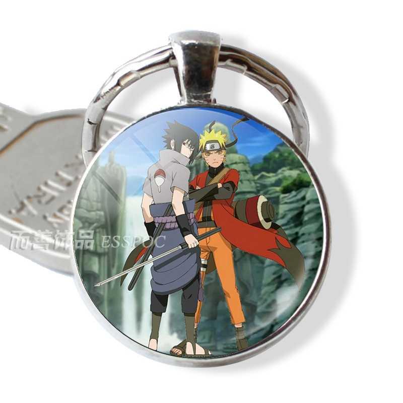 Аниме Наруто Shippuden модный брелок кулон стеклянный купольный кабошон Uzumaki Наруто Учиха Саске ювелирный ключ цепочка кольцо подарок