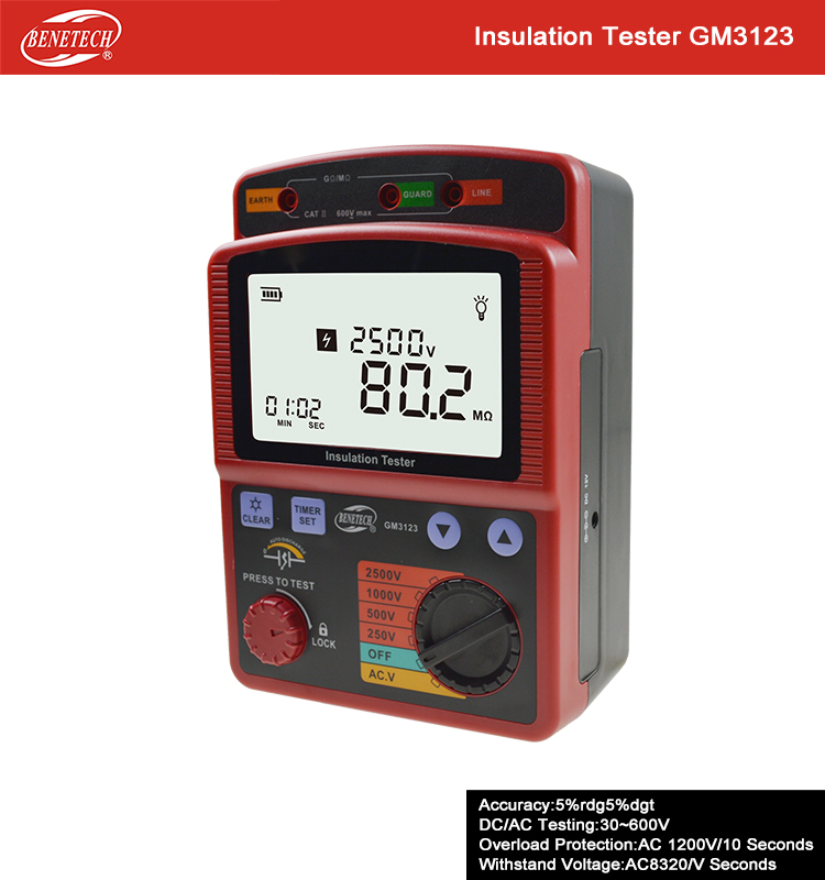 GM3123 1000V 2500V digital Insulation resistance tester megohm-meter Ohm Meter high tension megger Insulation AC Voltage mastech ms5215 high voltage digital insulation resistance tester megometro megger 5000v 3ma temp 10 70c