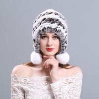 AngelBola Winter 2107 Fur Hat Winter Lady Rex Rabbit Hair Ear Cap Thickening Warm Foreign
