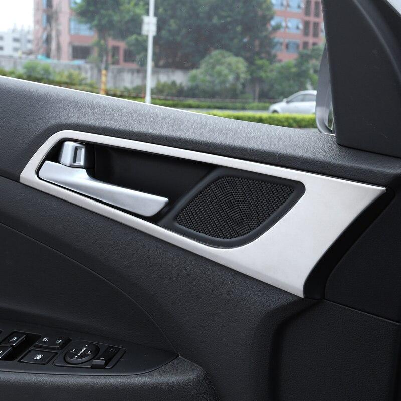 4Pcs / komplekt auto uksekäepide kaanekate sisekujunduse kärpimine Hyundai Tucsonile 3. 2015 2016 2017 2018 Chrome'i tarvikud