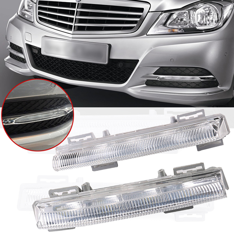 1 pair Front LED DRL Fog Light Left & Right ABS For Mercedes-Benz W204 W212 C250 C280 C350 E350 A2049068900 A2049069000 1 pair left
