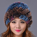 2016 Winter Beanies Fur Hat for Women Warm Multicolor Rex Rabbit Fur Striped Hot Sale Fashion Free Size Casual Women's Hat