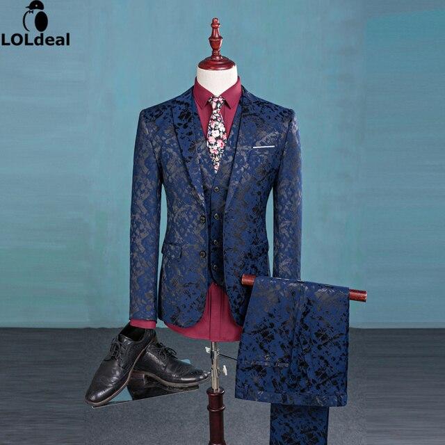 Blazer Pants Weste Mode Herrenanzug Glanz Muster Luxus Casual