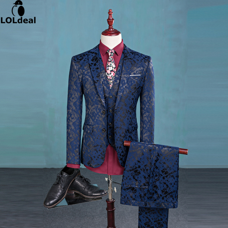 Loldeal (Blazer+Pants+Vest) Fashion Men's Suit Shine Patterns Luxury Casual Men Stage Clothing Vintage Mens Suits Wedding Groom
