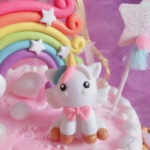 Image 4 - Fatura Unicorn gökkuşağı yıldız Pom Pom püskül kek Topper tatlı dekorasyon doğum günü partisi için güzel hediyeler