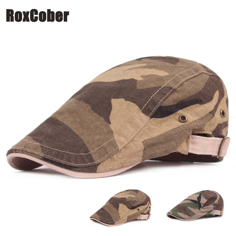 RoxCober Mens Camouflage Cotton Gatsby Cap Golf Driving Sun Outdoor Fashion Lvy Flat Cap Cabbie Newsboy Hat Adjustable Berets