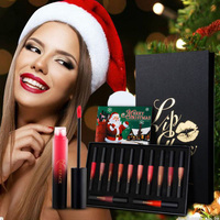 12pcs/lots Christmas Package Waterproof Long lasting Lip Gloss Pigment Velvet Matte Liquid Lipstick Lot Makeup new