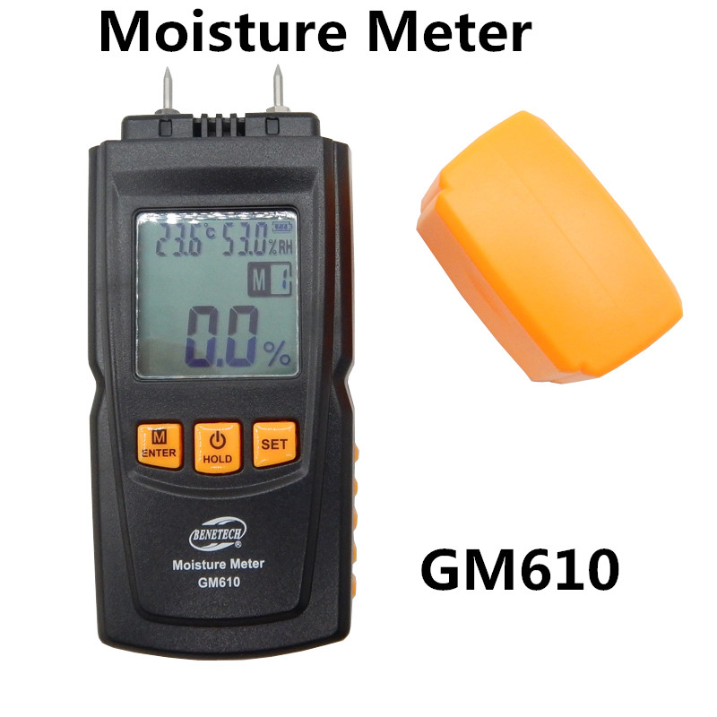 BENETECH GM610 Digital LCD Display Wood Moisture Meter Humidity Tester Timber Damp Detector Hygrometer Range 0~70% 2Pins saipwell lcd display digital wood moisture meter temperature humidity meter tester gm610