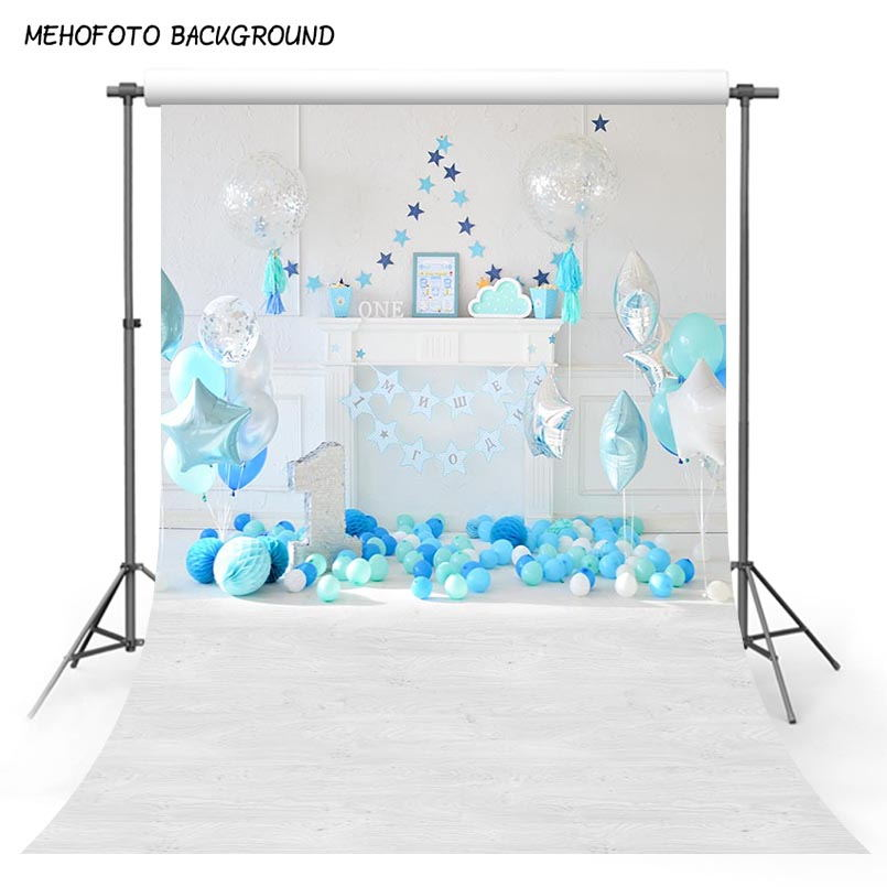 New Photo Backdrop 5x7 Vinyl Royal Blue with Silver Balloons Baby Shower Background for Boy Grey Baby Wood Floor 1st Birthday Party Studio Backgrounds