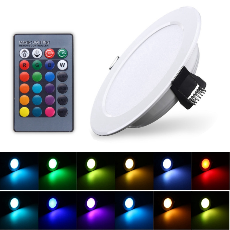 1 PCS 3W Round RGB LED Panel Light Down Light Recessed Lamp Bulb With Remote Control AC85-265V