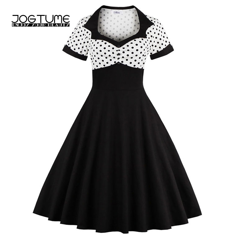 US $19.73 30% OFF JOGTUME Classic Vintage Dresses Style Short Sleeve Polka  Dot White and Black Women Retro Fifties Inspired Dresses Plus Size 4XL-in  ...