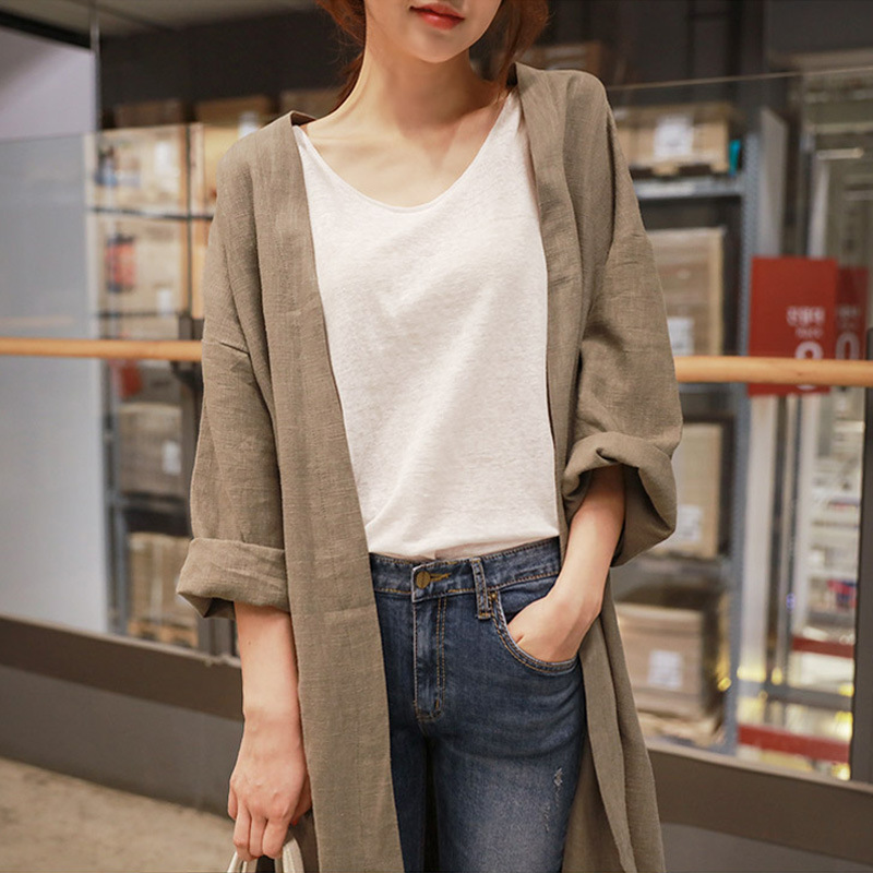 Medium Long Cotton And Linen Sun Protection Clothing Female Autumn Large Size Loose Thin Over Knee Cardigan   Trench   Coat