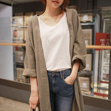 Medium Long Cotton And Linen Sun Protection Clothing Female Autumn Large Size Loose Thin Over Knee C