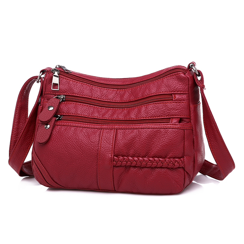Image 3 - Annmouler Fashion Women Bag Pu Soft Leather Shoulder Bag Multi layer Crossbody Bag Quality Small Bag Brand Red Handbag Purse-in Shoulder Bags from Luggage & Bags