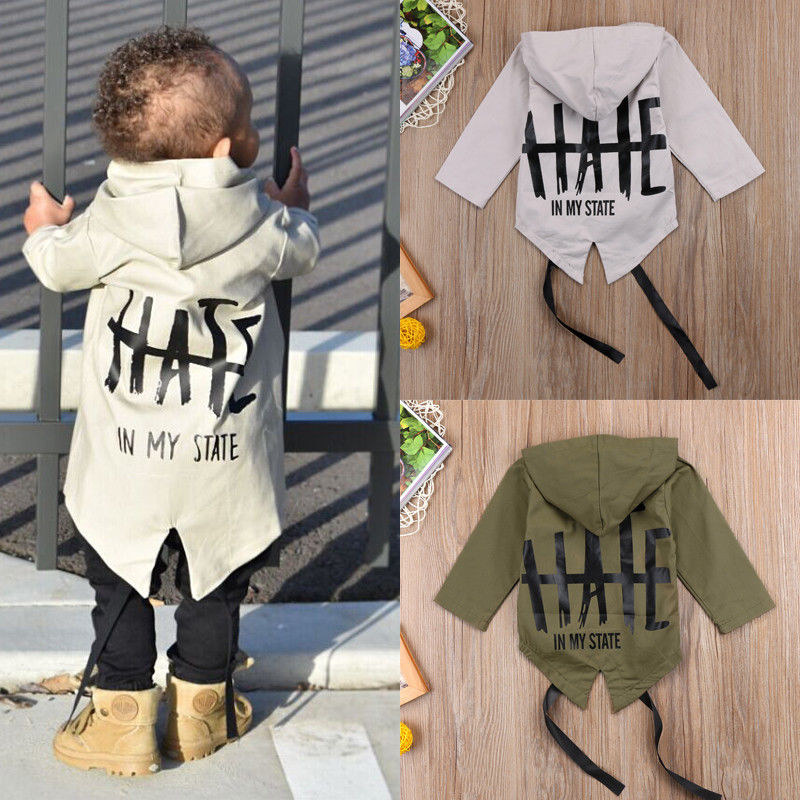 Back Letters In My State Fashion Toddler Baby Winter Warm Cotton Jacket Solid Coat Kids Boy Girl Outerwear 0-24M