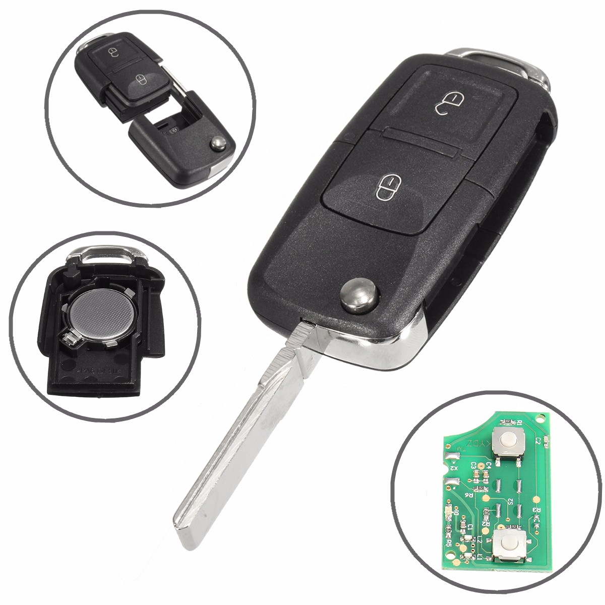 2 Button Flip Remote Key Fob Case 433MHz ID48 Chips For VW /Beetle /Bora /Golf /Passat /Polo /Transporter T5 1J0 959 753 AG