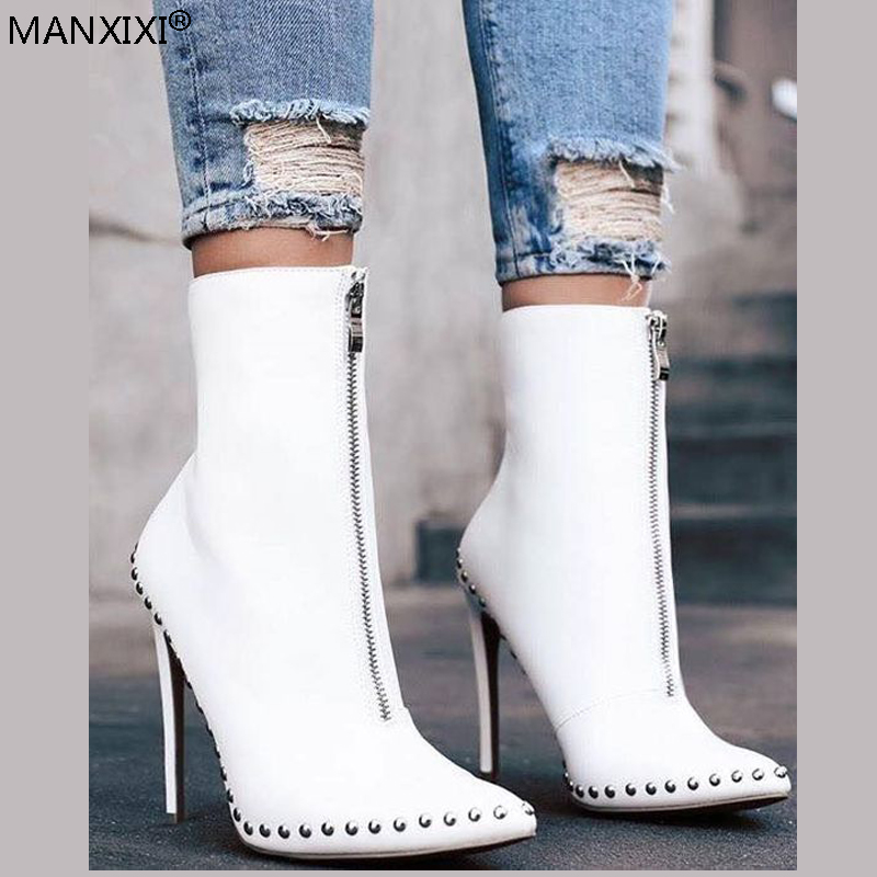 Women's winter boots pointed Toe Ankle sock Boots ladies Black White shoes pumps Female thin high heel zipper Martin booties floral female kid suede high heel shoes genius leather martin boots punk ankle boots thin heels women pointed toe booties