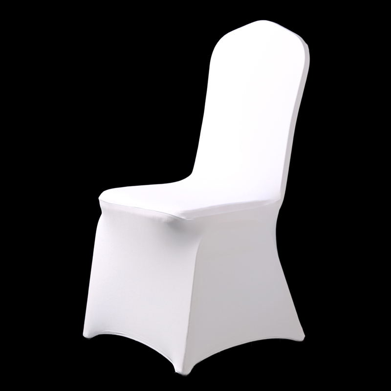 50Pcs 100Pcs Stretch Elastic Universal White Spandex Wedding Chair Covers for Weddings Party Banquet Hotel Polyester Fabric image