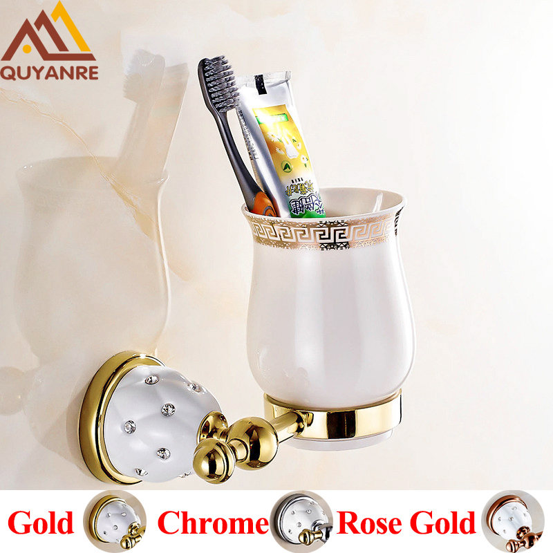 Quyanre Bathroom Hardware Brass Toothbrush Holders Gold Wall mounted With Ceramic Cup Holder Bathroom Accessories new bullet head bobbin holder with ceramic tube tip protecting lines brass copper material