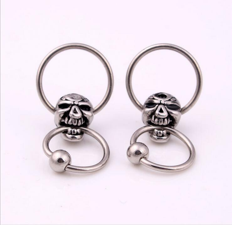 2pcs Skull Titanium Captive Hoop Rings Bcr Tragus Nose Closure Nipple Bar Lip Piercing Tragus Ring Ear Body Piercing Jewelry Jewelry Sets & More Body Jewelry
