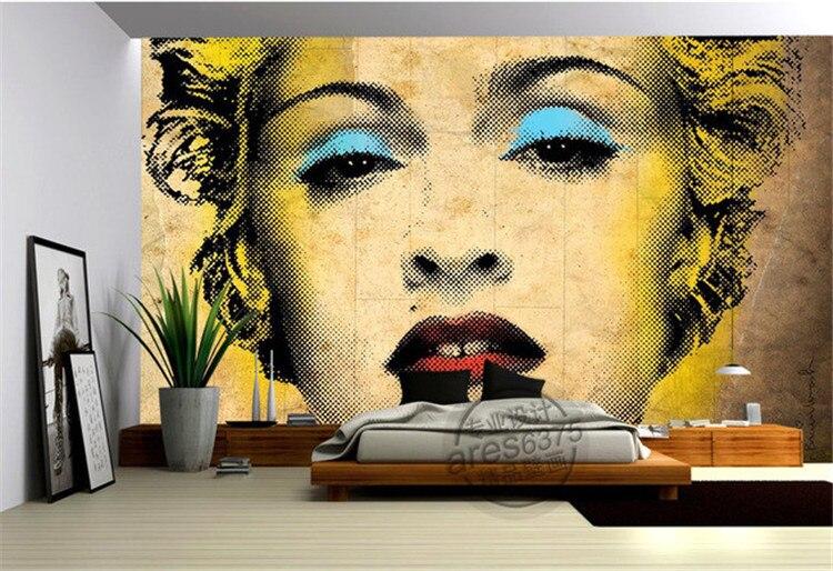 Vintage Marilyn Monroe Photo Wallpaper Pop art Wallpaper Custom 3D Mural Painting Large wall art Room Decor Bedroom Kidu0027s room-in Wallpapers from Home ...  sc 1 st  AliExpress.com & Vintage Marilyn Monroe Photo Wallpaper Pop art Wallpaper Custom 3D ...