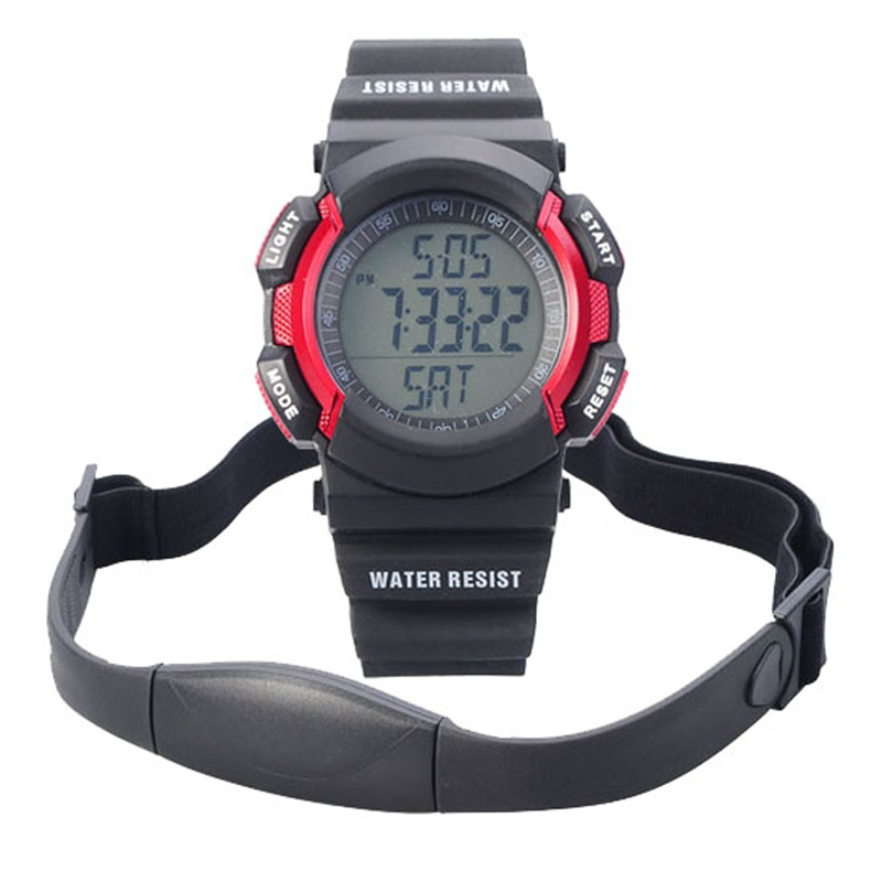 Chest Strap Pedometer Heart Rate Calories Digital Sports Watch with LCD Monitor Exercise Memory Mode Stopwatch