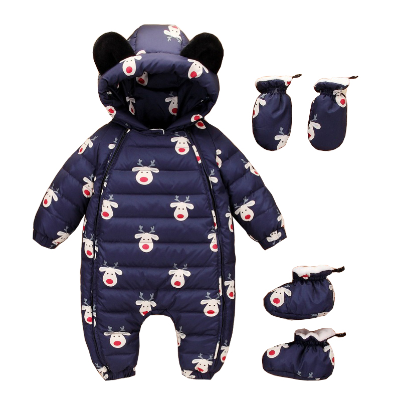 0~12M Winter Warm White Down Newborn Baby Romper Boy Clothes Bebe Onesie Infant Costume Bear Hooded Jumpsuit Bebek Giyim Creeper