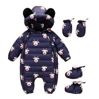 0~12M Winter Warm White Down Newborn Baby Romper Boy Clothes Bebe Onesie Infant Costume Bear Hooded Jumpsuit Bebek Giyim Creeper
