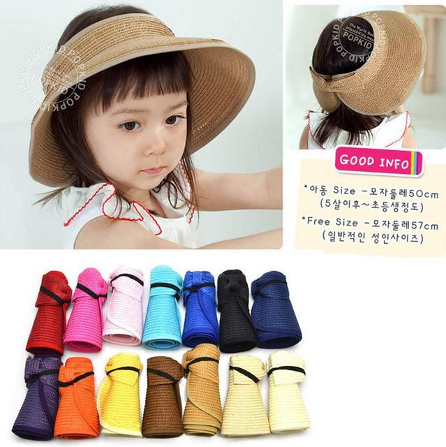 591f7a3bf1 2015 Summer Wholesale tourism cap 13 solid colors Children Portable folding  straw hat baby girls Beach Hats kids sun hat