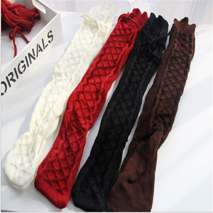 4colors Autumn Winter Over Knee Socks Sexy Warm Thin High Long Knit Stockings For Ladies Women Cable Long Boot Thigh-High Socks