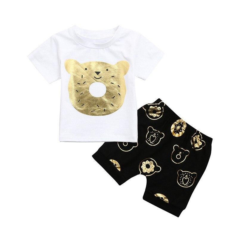 2018 New 2PCS Baby Cute Cartoon Bear Print Short Sleeve Boy Jacket Cartoon Bear Pants Suit Set Clothes 1-7 Boy Child Clothes P5