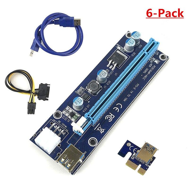 FUERAN dernière 009 s PCI-E Riser-plaqué or USB 3.0 interface-1x à 16x alimenté Riser adaptateur carte 6 broches PCI-E à SATA
