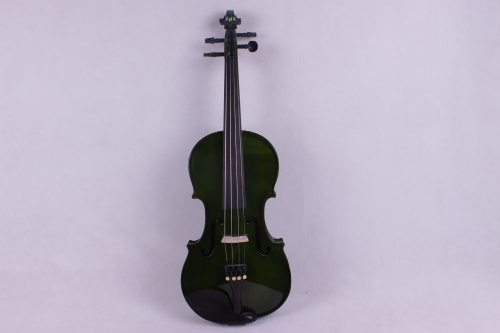 4 -String 4/4 New Electric Acoustic Violin dark green color   #1-2512# 4 4 high quality 5 string electric violin yellow 2 pickup violin