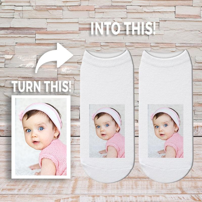 Custom Face Photo Socks Funny Gift Personalized Picture Sock 3D Printed Short Socks Kawaii Women Cotton Sock Drop Shipping