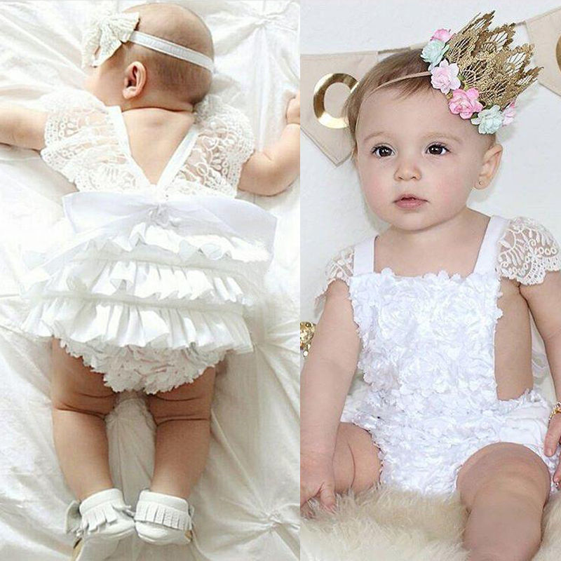 New Summer Baby Girl Lace Floral Sleeveless Romper Sunsuit Outfits One-pieces Tutu Clothing Wholesale new summer