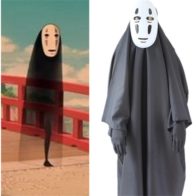 takerlama no face man spirited away cosplay costume with mask gloves